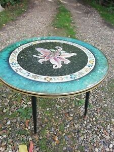 1950s-VINTAGE-melamina-Rotondo-Tavolino-Orchidea-Design-ATOMIC-DANSETTE-gambe