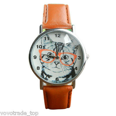 Lady Casual Watch Womens Watch Cat Pattern Leather Band Quart Cute Wrist Watch