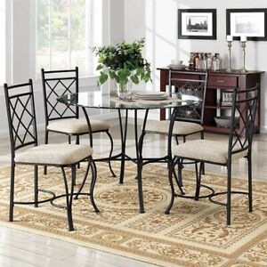 Details About Dining Table And Chairs Set Round Glass Top Kitchen Sun Room  Porch 5 Piece Sets