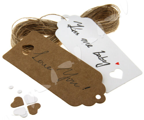 100pcs Heart Kraft Paper Hang Tags Gift Price Cards 9x4CM with 20m String
