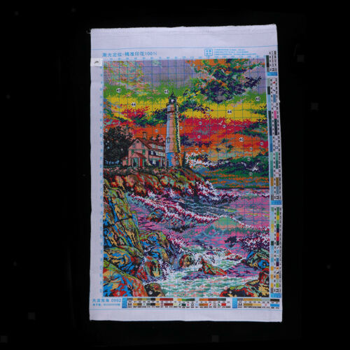 Stamped Cross Stitch Kits Lighthouse 54x79cm Embroidery Package for Beginner