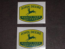 """JOHN DEERE 1.75"""" QFE 1950's PRINTED IN USA (2) TWO DECAL STICKER TRACTOR GATOR"""