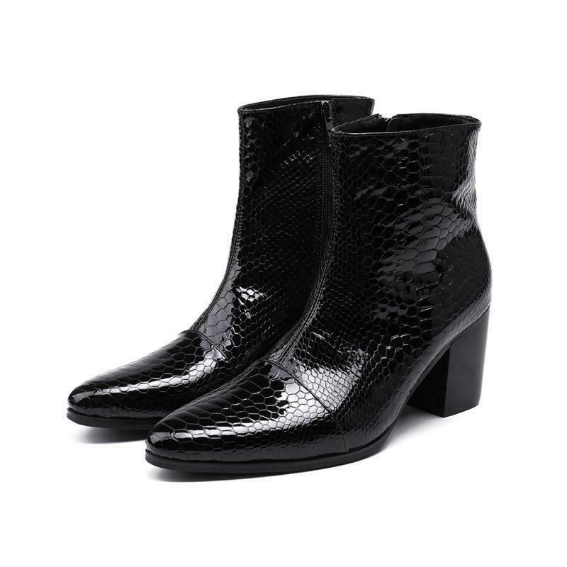 New Mens Real Leather Boot High Heels Shoes Black