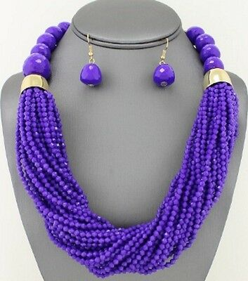 Multi Layers Lavender Faceted Lucite Bead Chunky Necklace earring Set