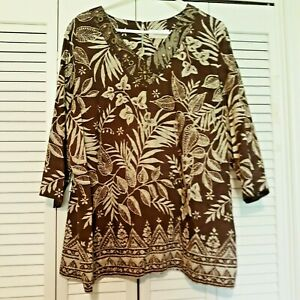 ALFRED-DUNNER-Cotton-Brown-White-Blouse-Embellishe-d-3-4-Sleeves-22-W