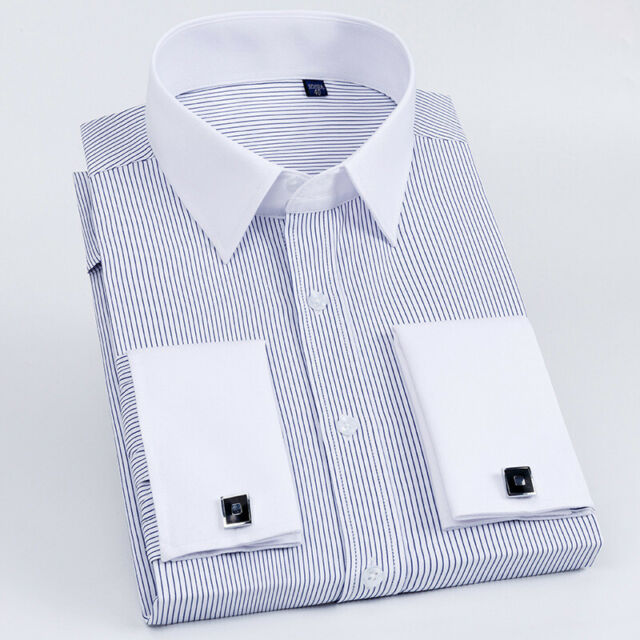French Cuff Shirt Mens with Cufflinks Business Dress Shirts Black Purple MT385