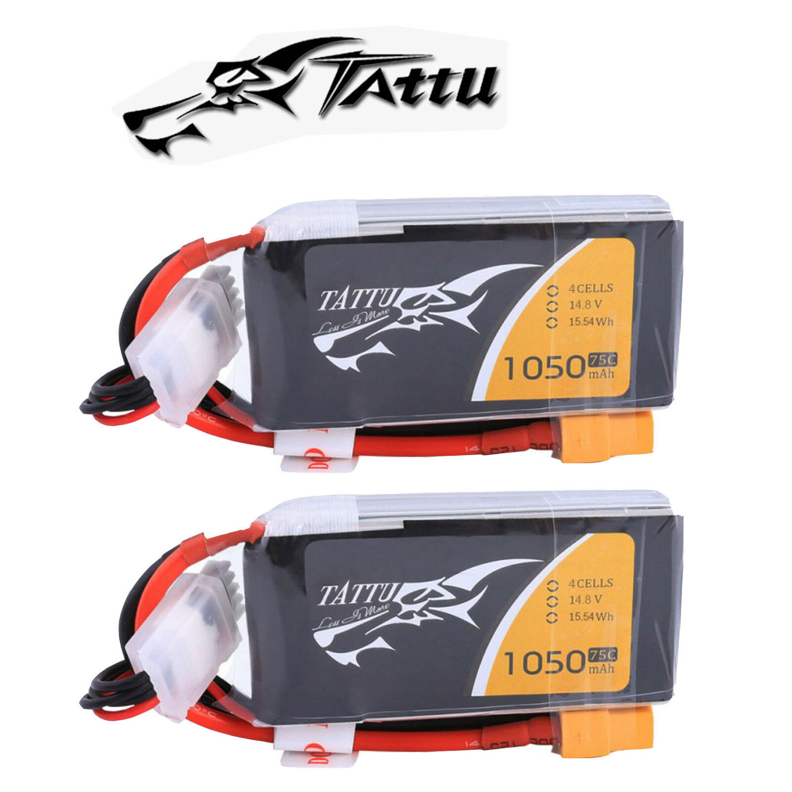 2X Tattu 1050mAh 14.8V 75C 4S RC Lipo Battery XT60 Plug For Quadcopter Drone FPV