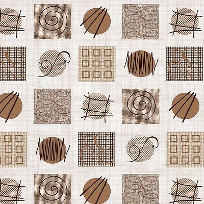 PVC Table Nappe Rétro Cercles Marron Latte Beige Vison Funky formes Swirl lavables