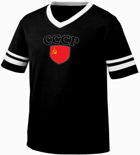 CCCP USSR Flag Crest Soviet Union National Country Pride Retro Ringer T-shirt