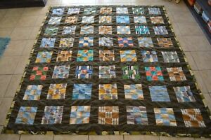 Vintage-Patchwork-Quilt-Hand-Sewn-Camouflaged-Backing-Heavy-Earth-tones-Bedding