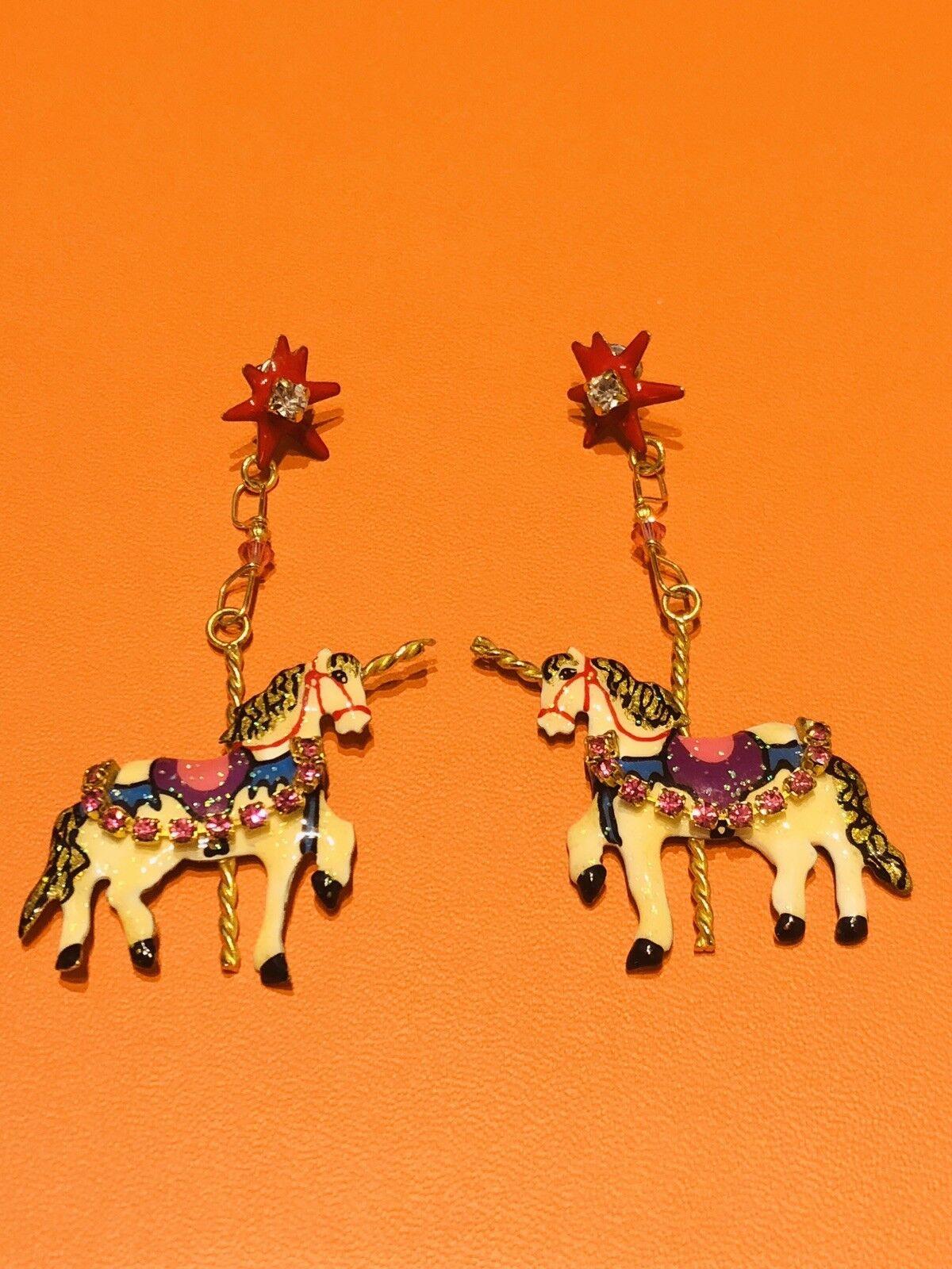 Lunch at the Ritz Enamel Carrousel Horse Earrings