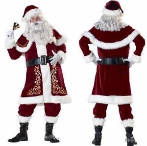 Men's Santa Claus Costume Father Christmas Fancy Dress Budget Outfit ...