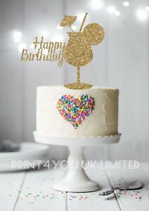 Fantastic Happy Birthday Cocktail Glass Glitter Card Standing Cake Topper Birthday Cards Printable Inklcafe Filternl