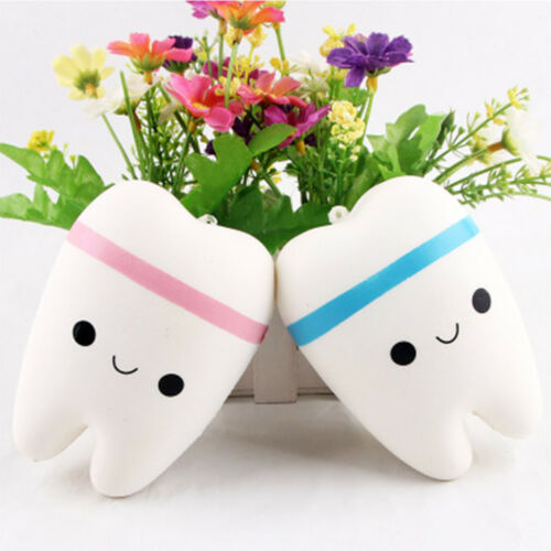 Lovely Tooth Shape Slow Rising  Squeeze Healing Toy Stress Relieve Toy Kid Toy