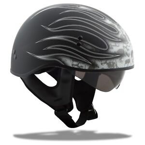 GMAX-GM65-HALF-HELMET-FLAT-BLACK-WHITE-FLAME-BLACK-LARGE-HARLEY-MOTORCYCLE