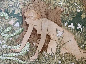 JD-BATTEN-gravure-sur-bois-Art-Nouveau-EVE-et-le-serpent-mythologie-1896-woodcut