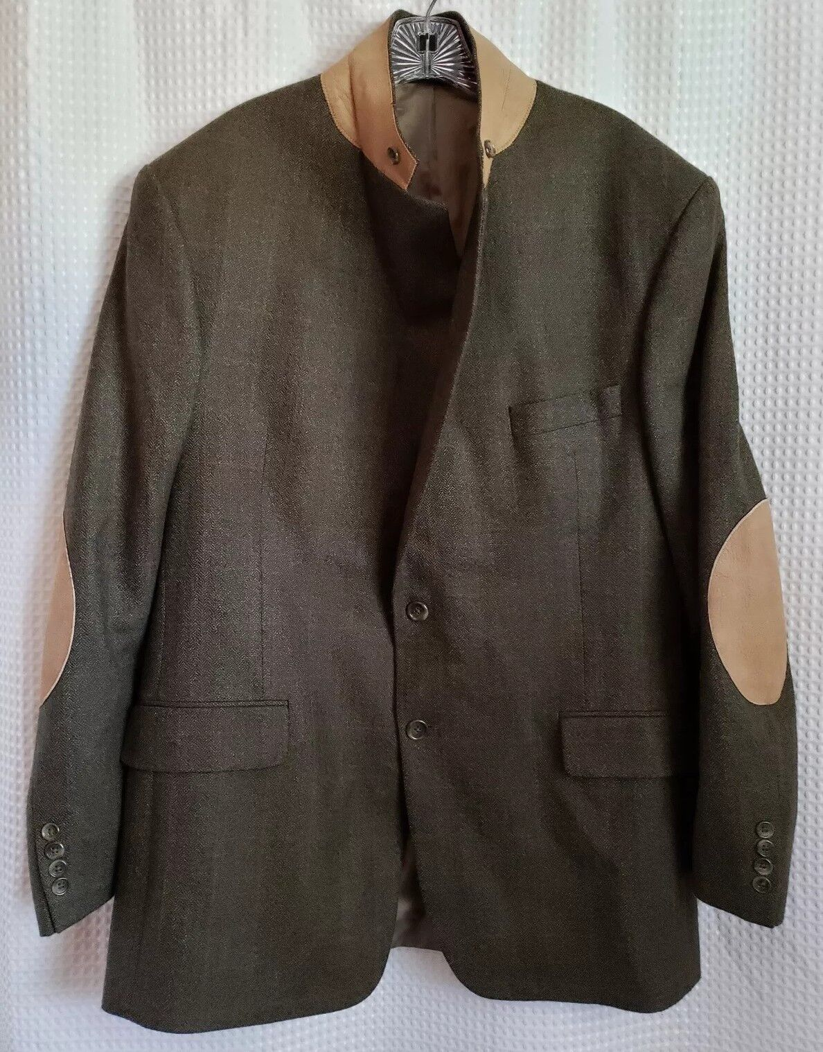 Evan Picone Foley's 44L Wool Sport Coat Blazer Elbow Patches Faux Leder Trim