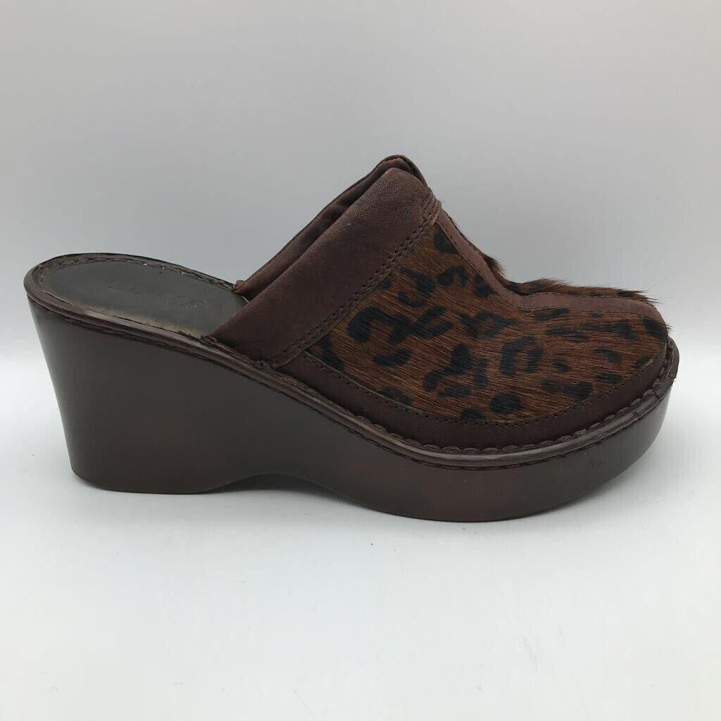 Born Womens Mule Clog Shoes Brown Leopard Split Toe Calf Hair Platform Wedges 9M