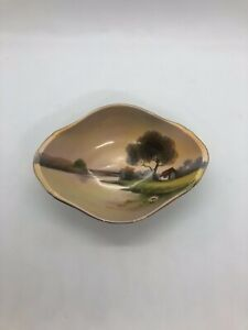 "Antique Nippon Morimura Japan Hand Painted Lake Scene Bowl. 6.25"" X 4.5"""