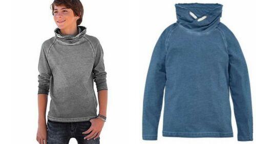 Arizona Langarmshirt Shirt Sweatshirt mit großem Schalkragen Blau Gr 152-170