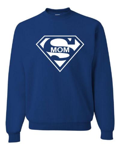 Super Mom Funny Crew Neck Sweatshirt Superhero Parody Mother/'s Day