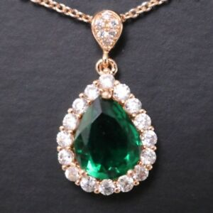 Green-Emerald-Teardrop-Pear-Diamond-Halo-Pendant-Necklace-14K-Rose-Gold-Plated