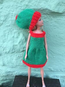 Barbie-Sindy-Christmas-Elf-Outfit-hand-knit-Dress-amp-Hat-By-Wishfairies