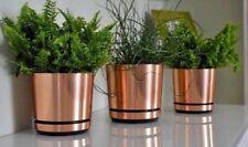 MODERN PLASTIC FLOWER PLANT POT DECORATIVE COPPER INDOOR PLANTER WITH SAUCER