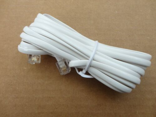 2/' Foot RJ11 Modular Phone//Telephone Wire Line Flat Cord//Cable 6P4C 2ft WHITE