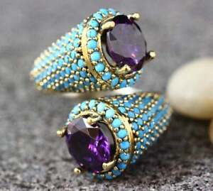 Vintage-18K-Gold-Filled-Amethyst-amp-Turquoise-Ring-Wedding-Band-Jewelry-Size-6-12