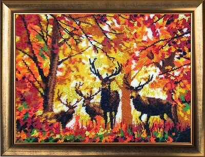 Deers elegant beaded embroidery DIY kit, Unique Wall Art room decor