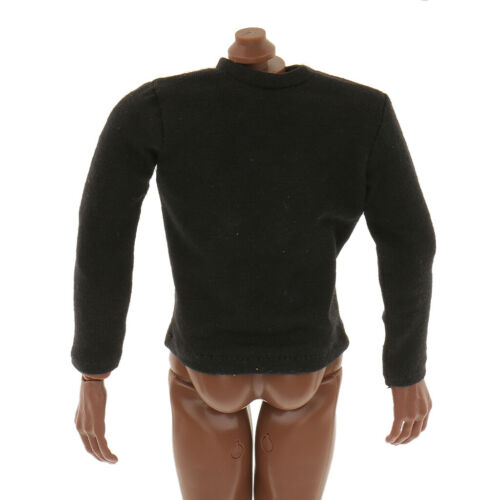 12/'/' Action Figure Outfit Clothes 1//6 Scale Black Long Sleeve T-shirt Top