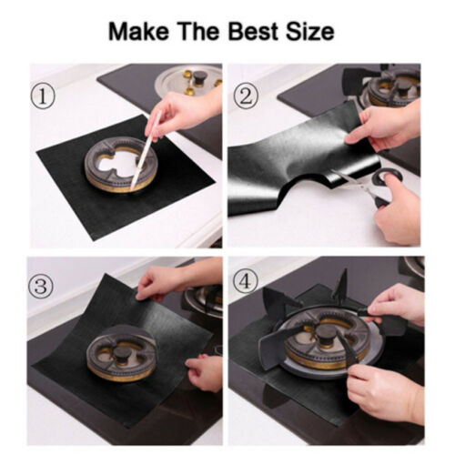 4Pcs Kitchen Gas Stove Top Burner Reusable Protector Liner Clean Mat Pad Cover