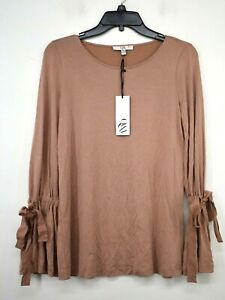 Q&A Womens Solid Brown Scoop Neck Long Tie Poet Sleeve Casual Blouse T-Shirts XS
