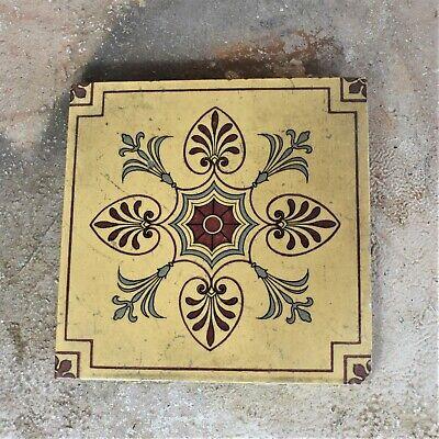 Stoke upon Trent 1880 Art Nouveau China works Green floral decoration 2 Rare antique Minton tiles