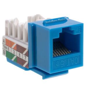 100 pack lot Keystone Jack Cat5e Blue Network Ethernet 110 Punchdown 8P8C RJ45