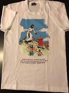 VTG-1990-Youth-Suffer-Children-Kingdom-T-Shirt-Mark-10-14-Bible-Jesus-Church