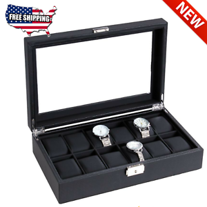 12 Slots Large Luxury Carbon Fiber Mens Watch Jewelry Box Display