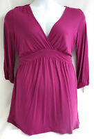 Liz Lange Shirt Maternity Crossover Top Exotic Pink Small Modal Keyhole