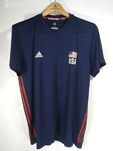 Adidas USA Volleyball Team Dri-Fit T-shirt Men's Size Medium Blue ...
