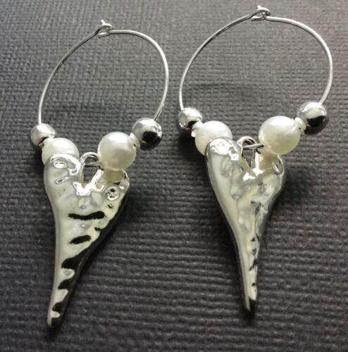 Martillado Corazón Aro Pendientes de Plata con Perlas Intercambiables Boho