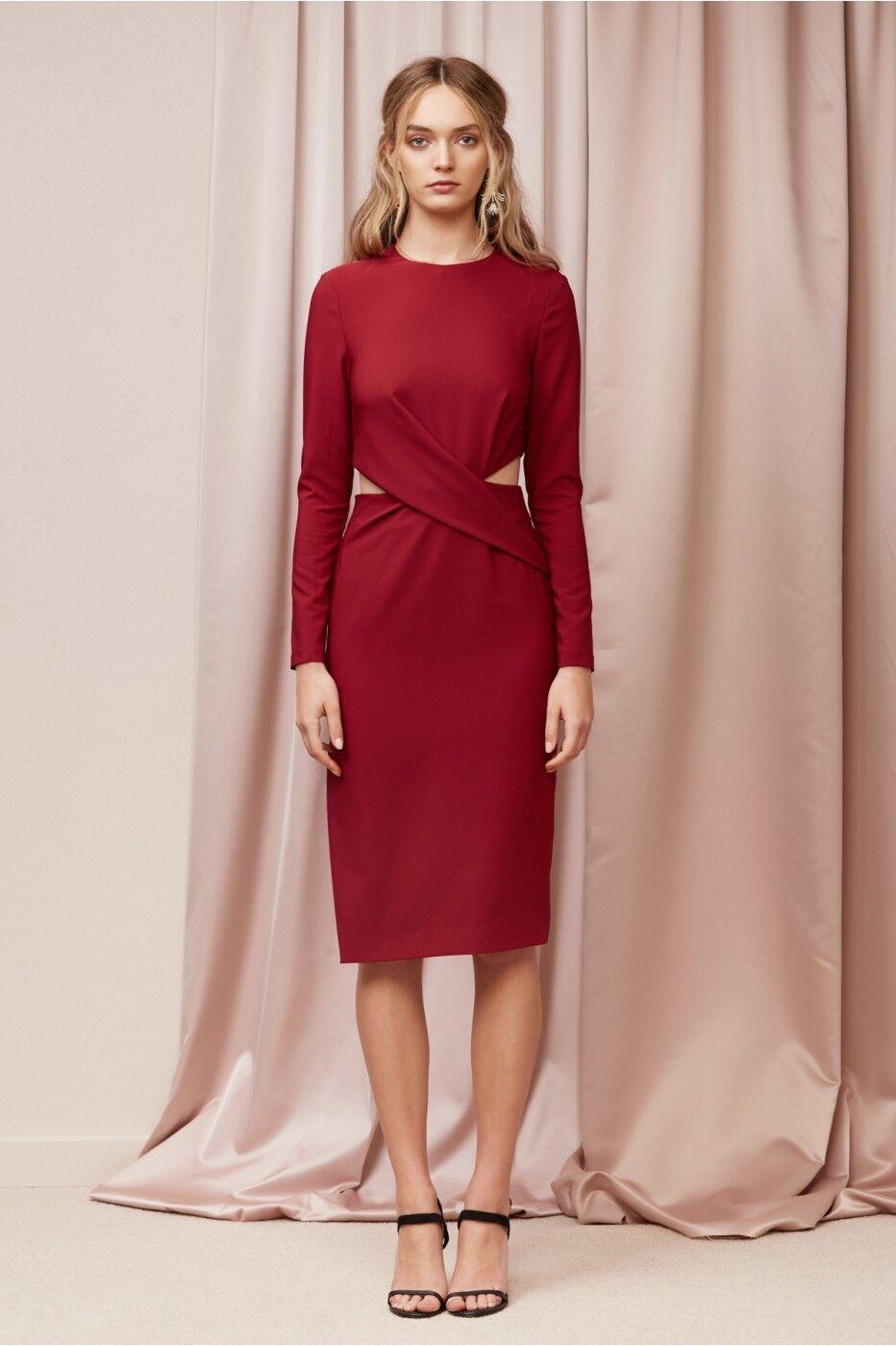 Finders Keepers F11 Women Revolution Cut Out Midi Sheath Dress Raspberry Size M