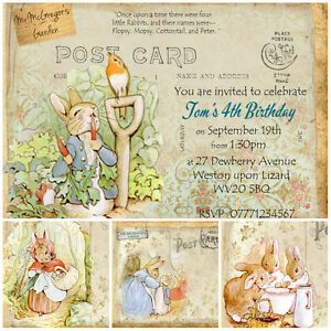 4 Personlised Beatrix Potter Peter Rabbit Invitations Thank You