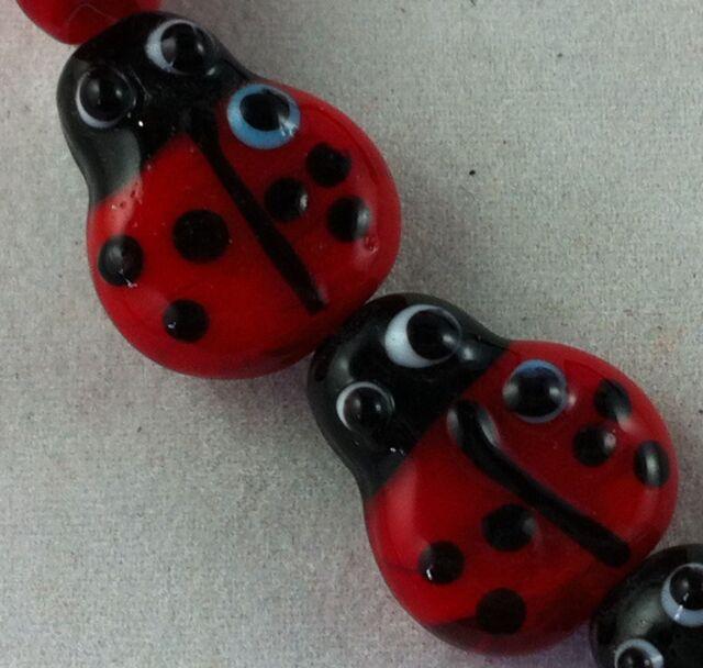 15pcs Handmade Glass Mixed Ladybug Spacers 22x17x9mm P440