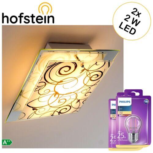 Glas Flur Decken Leuchten mit 2x Philips LED 2W Vintage Leuchtmittel Wohn Zimmer