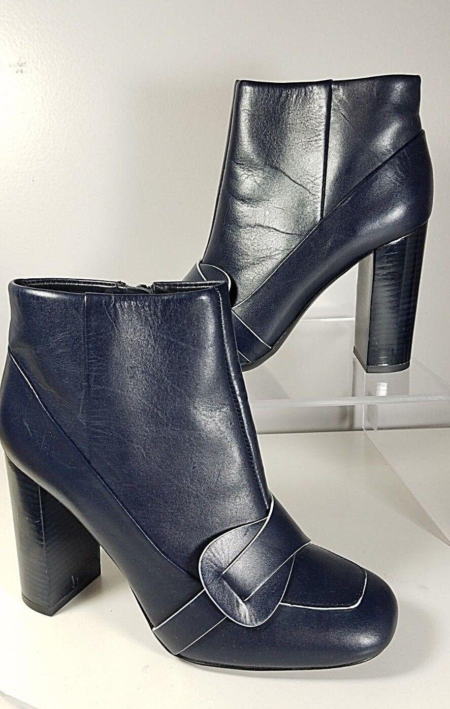 Sz 7 NEW  FLOOR TORY BURCH Ankle Boots Bootie Women's Bond Zip Heeled Navy bluee