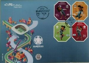 Turkey 2021 UEFA Football Soccer Sports Odd Shaped Stamped FDC Cartoon Mascot
