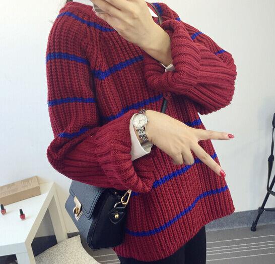 Komfortabel heiß pullover frau rot blau streifen weich wollmischung 4266 | Verschiedene