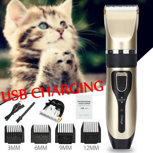 Pet-Cat-Dog-Clippers-Grooming-Kit-Cordless-Trimmer-Electric-Clipper-USB-Comb-Set