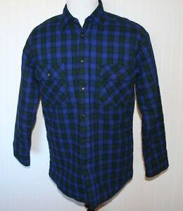 Woolrich black watch blue green plaid flannel quilted for Black watch plaid flannel shirt